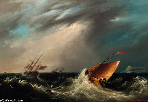 Riding Out A Gale by John Wilson Carmichael (1800-1868, United Kingdom)