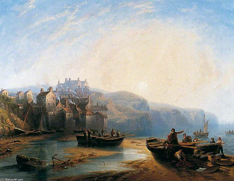Robin Hood's Bay, Yorkshire by John Wilson Carmichael (1800-1868, United Kingdom)
