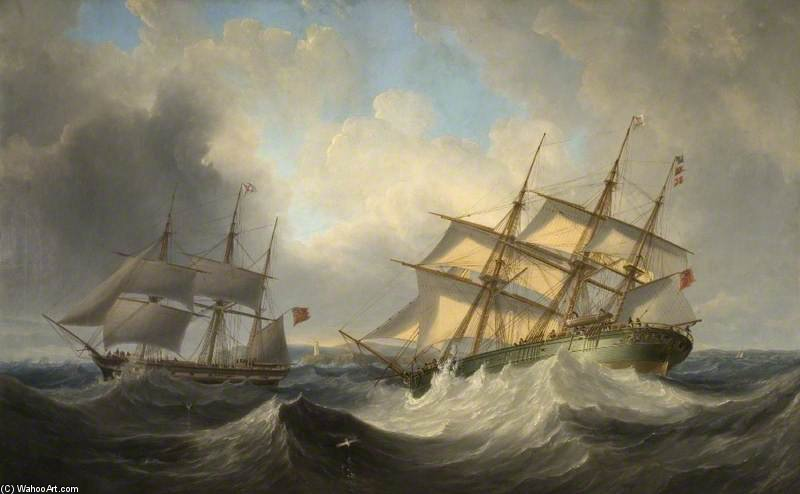 Sea Piece With Ships by John Wilson Carmichael (1800-1868, United Kingdom) | ArtsDot.com
