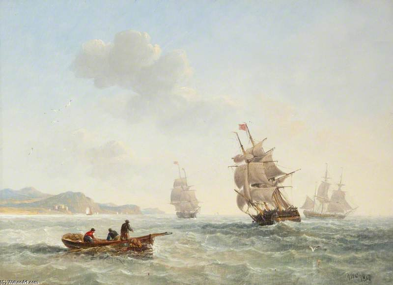 Seascape With Boats And Fishermen by John Wilson Carmichael (1800-1868, United Kingdom)