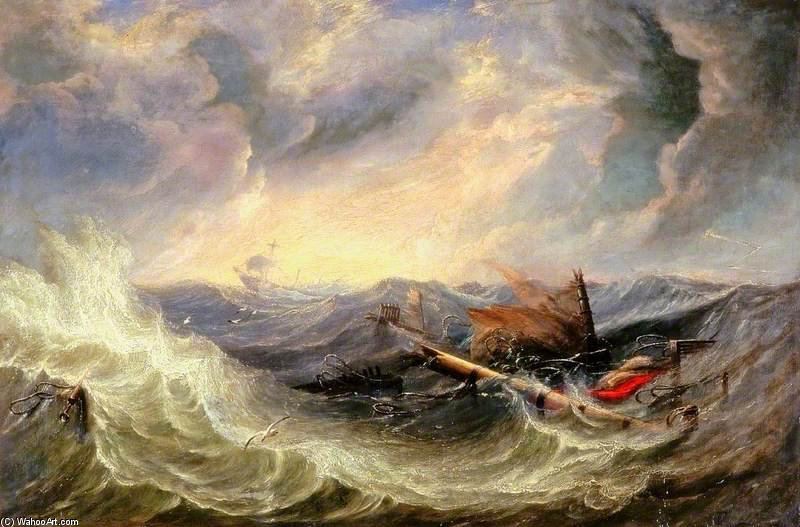 Seascape With Wreckage by John Wilson Carmichael (1800-1868, United Kingdom)