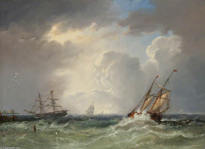 fishing Boats at Sea off the Coast, Storm Approaching by John Wilson Carmichael (1800-1868, United Kingdom)