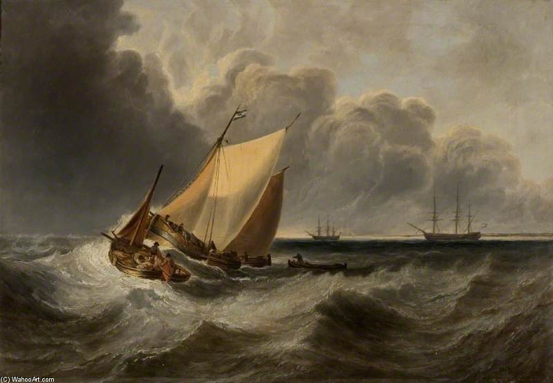 Seascape, Recollection Of Turner by John Wilson Carmichael (1800-1868, United Kingdom)