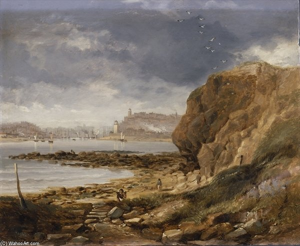 Shields From The Harbour Mouth by John Wilson Carmichael (1800-1868, United Kingdom)