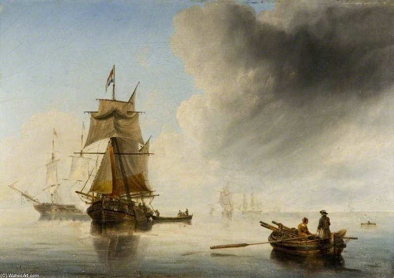 Shipping In A Calm by John Wilson Carmichael (1800-1868, United Kingdom)