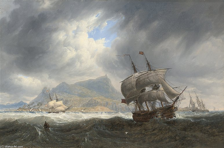 Shipping In A Heavy Swell Off Palermo by John Wilson Carmichael (1800-1868, United Kingdom)