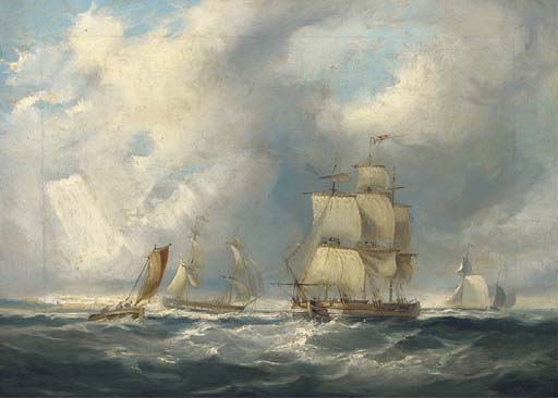 Shipping In A Squall by John Wilson Carmichael (1800-1868, United Kingdom)