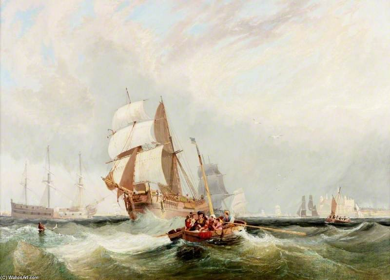 Shipping Inshore, A Boat Ferrying Passengers by John Wilson Carmichael (1800-1868, United Kingdom)