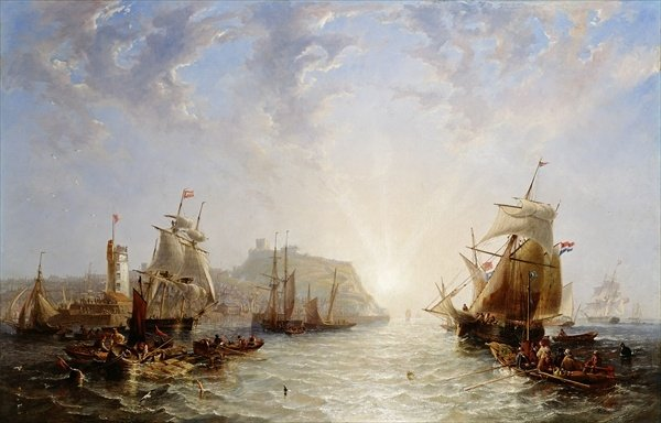 Shipping Off Scarborough by John Wilson Carmichael (1800-1868, United Kingdom)