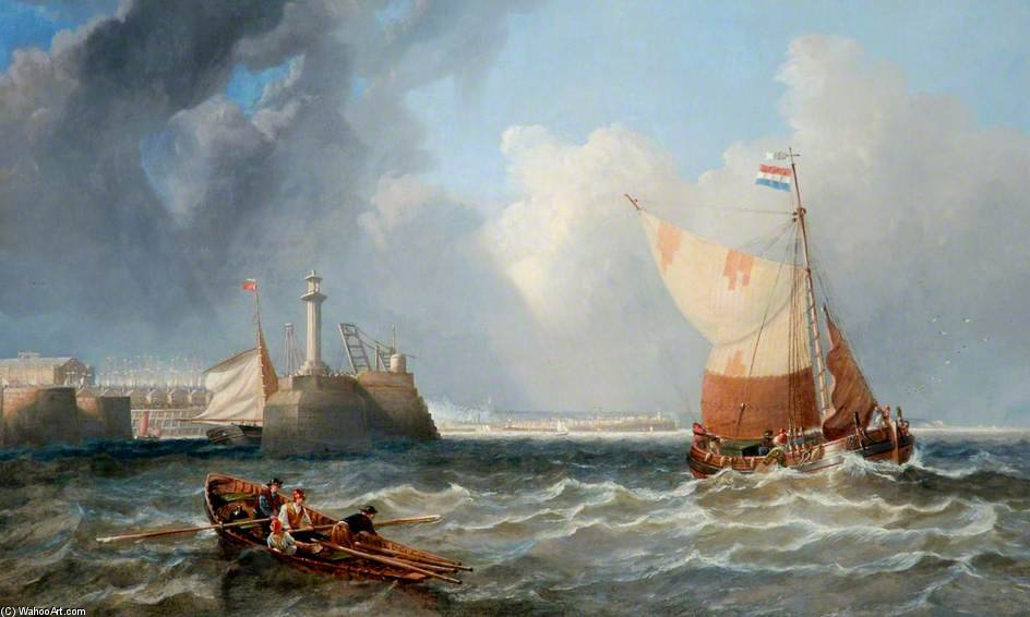 Shipping Off West Hartlepool, Tees Valley by John Wilson Carmichael (1800-1868, United Kingdom)