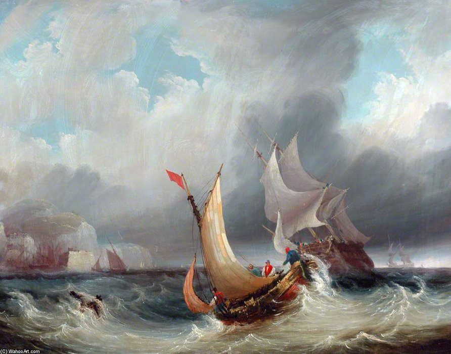 Shipping Offshore In A Stormy Sea by John Wilson Carmichael (1800-1868, United Kingdom)
