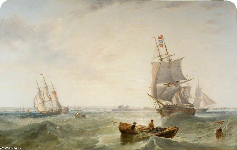 Shipping On The Solent, Off Calshot Castle by John Wilson Carmichael (1800-1868, United Kingdom)