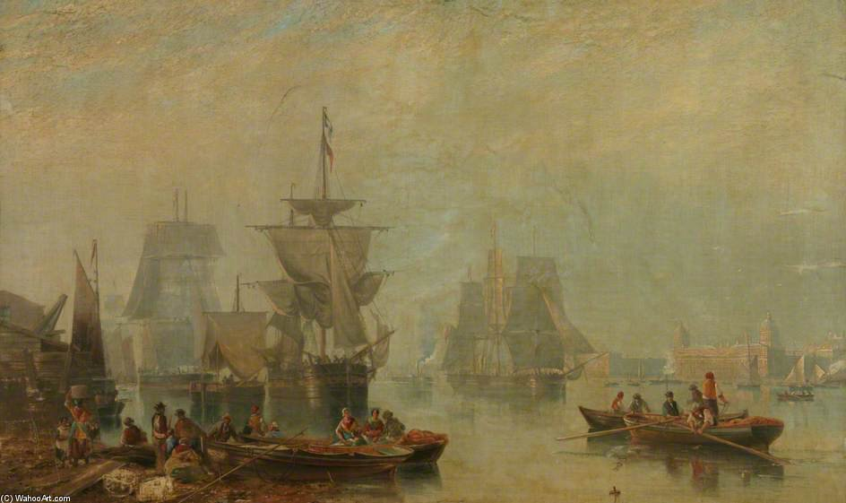 Shipping On The Thames by John Wilson Carmichael (1800-1868, United Kingdom)