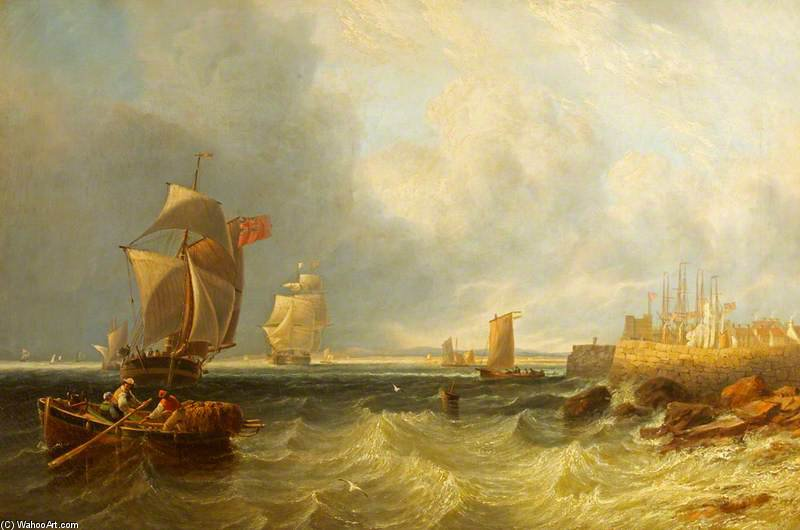 Shipping Outside A Harbour by John Wilson Carmichael (1800-1868, United Kingdom)