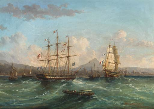 Shipping Passing In The Roadstead by John Wilson Carmichael (1800-1868, United Kingdom)
