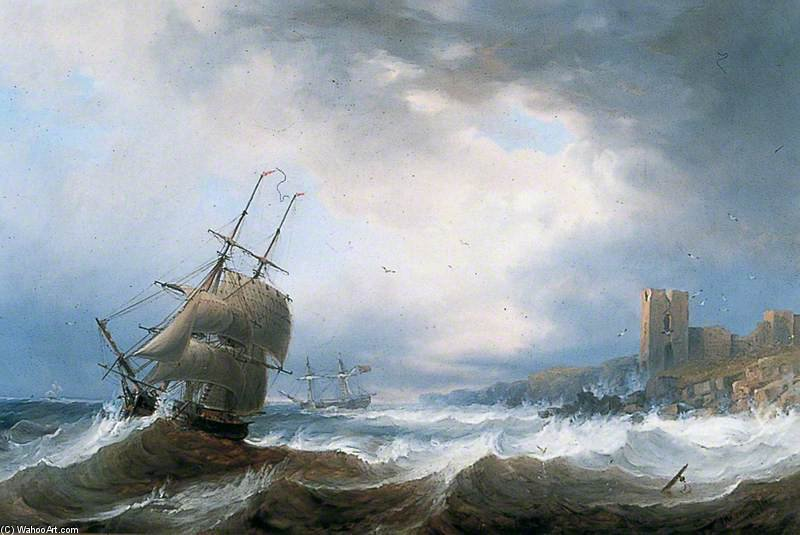 Ships Beating Off A Lee Shore by John Wilson Carmichael (1800-1868, United Kingdom)