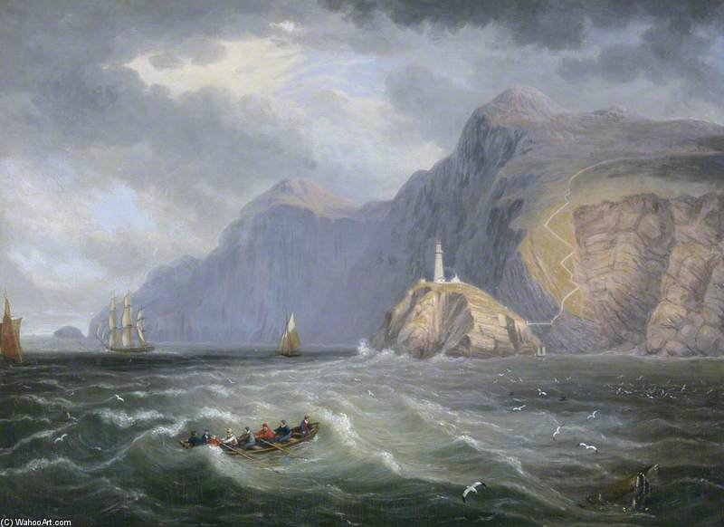 South Stack Rock, Holyhead by John Wilson Carmichael (1800-1868, United Kingdom) | ArtsDot.com