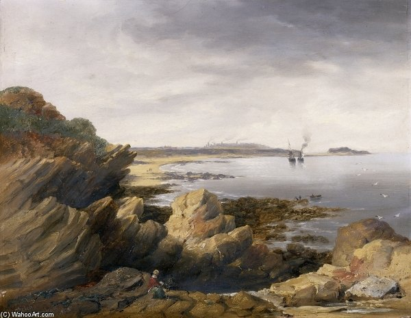 St. Mary's Island From Whitley Rocks by John Wilson Carmichael (1800-1868, United Kingdom) | ArtsDot.com