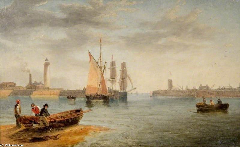 Sunderland Harbour by John Wilson Carmichael (1800-1868, United Kingdom)