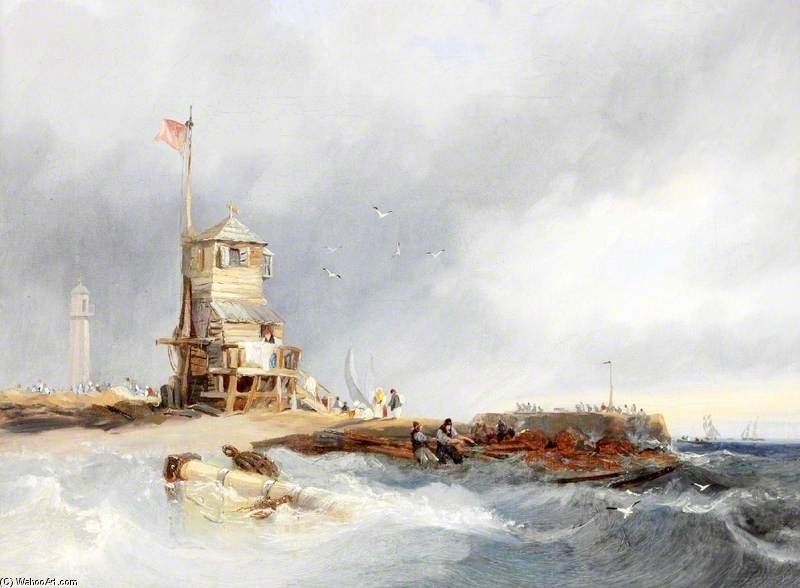 Sunderland Pier With The Old Lighthouse by John Wilson Carmichael (1800-1868, United Kingdom)
