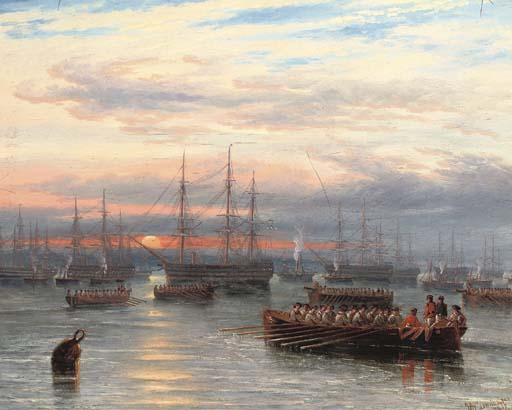 Sunrise In The Baltic Off Cronstadt by John Wilson Carmichael (1800-1868, United Kingdom)