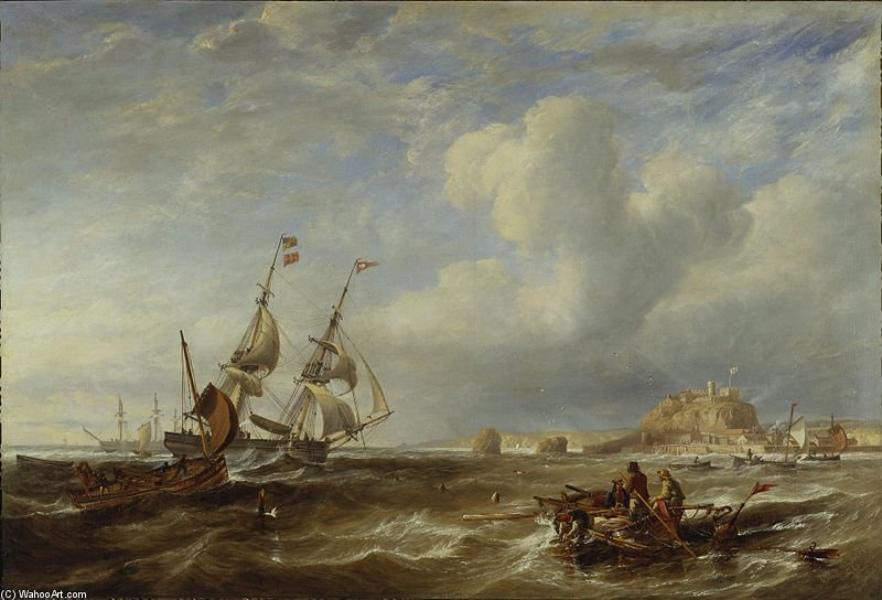 The 78-ton Brigantine 'the Advocate' Off St. Helier, Jersey by John Wilson Carmichael (1800-1868, United Kingdom)