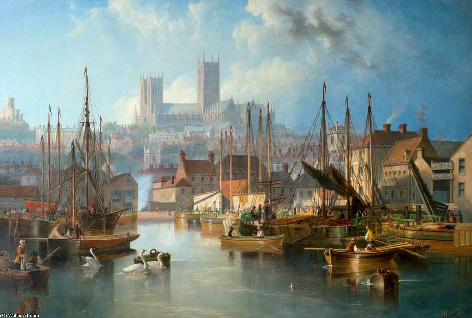 The Brayford Pool And Lincoln Cathedral by John Wilson Carmichael (1800-1868, United Kingdom)