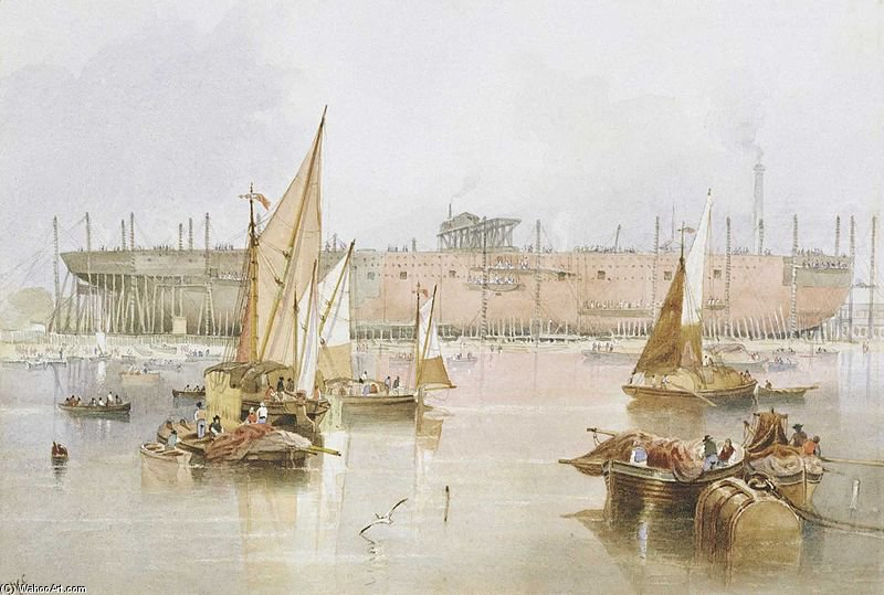 The Building Of The Ss 'great Eastern' by John Wilson Carmichael (1800-1868, United Kingdom)