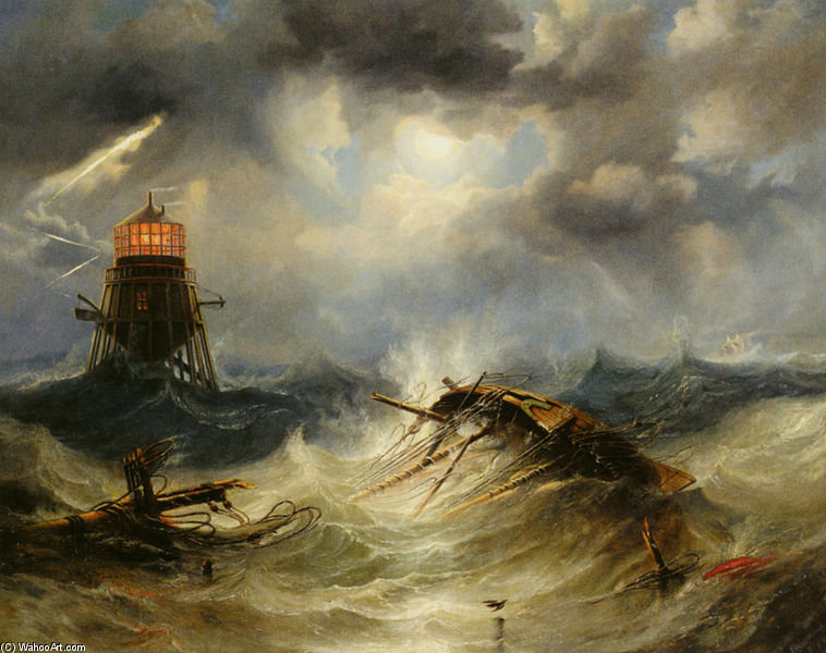 The Irwin Lighthouse, Storm Raging by John Wilson Carmichael (1800-1868, United Kingdom)
