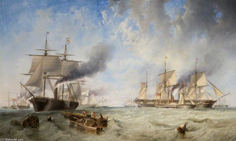 The Naval Review, Spithead by John Wilson Carmichael (1800-1868, United Kingdom)