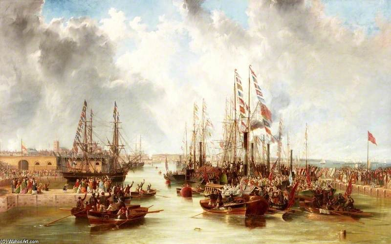 The Opening Of Sunderland South Docks - by John Wilson Carmichael  (order Fine Art painting copy John Wilson Carmichael)