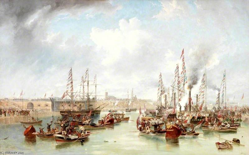 The Opening Of Sunderland South Docks by John Wilson Carmichael (1800-1868, United Kingdom)
