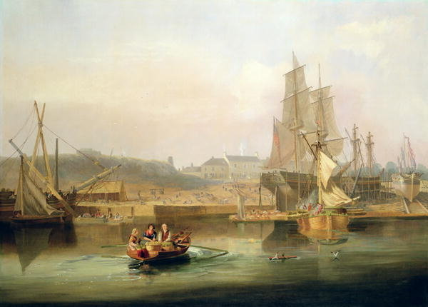 The Shipyard At Hessle Cliff by John Wilson Carmichael (1800-1868, United Kingdom)