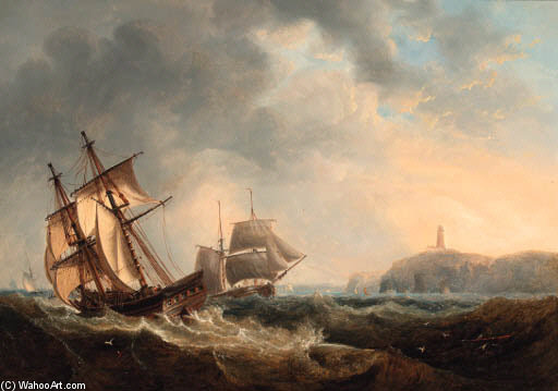 Trading Brigs Passing In The Channel Off Flamborough Head by John Wilson Carmichael (1800-1868, United Kingdom)