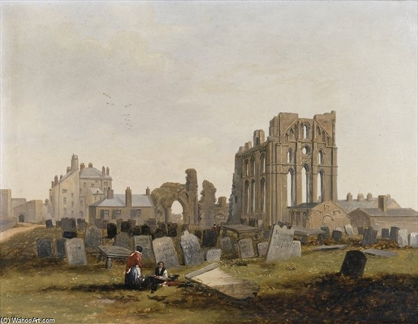 Tynemouth Priory From The East - by John Wilson Carmichael (1800-1868, United Kingdom)