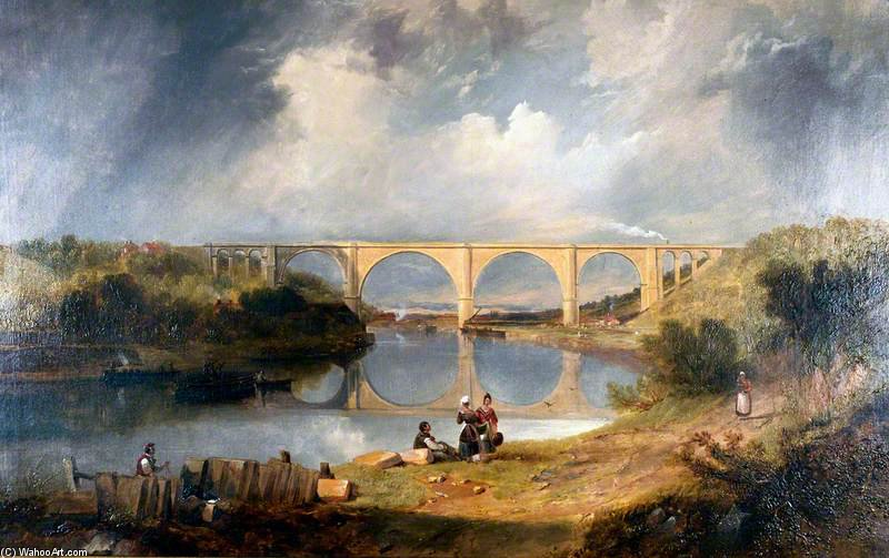 Victoria Bridge Over The River Wear by John Wilson Carmichael (1800-1868, United Kingdom) | ArtsDot.com