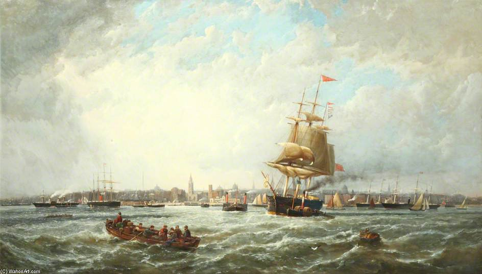 View Of Liverpool by John Wilson Carmichael (1800-1868, United Kingdom)