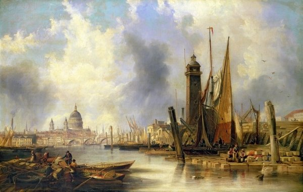 View Of London With St. Paul's by John Wilson Carmichael (1800-1868, United Kingdom)