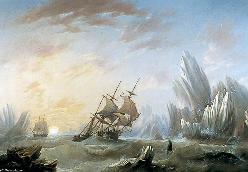 Whale Fishing In A Polar Sea by John Wilson Carmichael (1800-1868, United Kingdom) | ArtsDot.com
