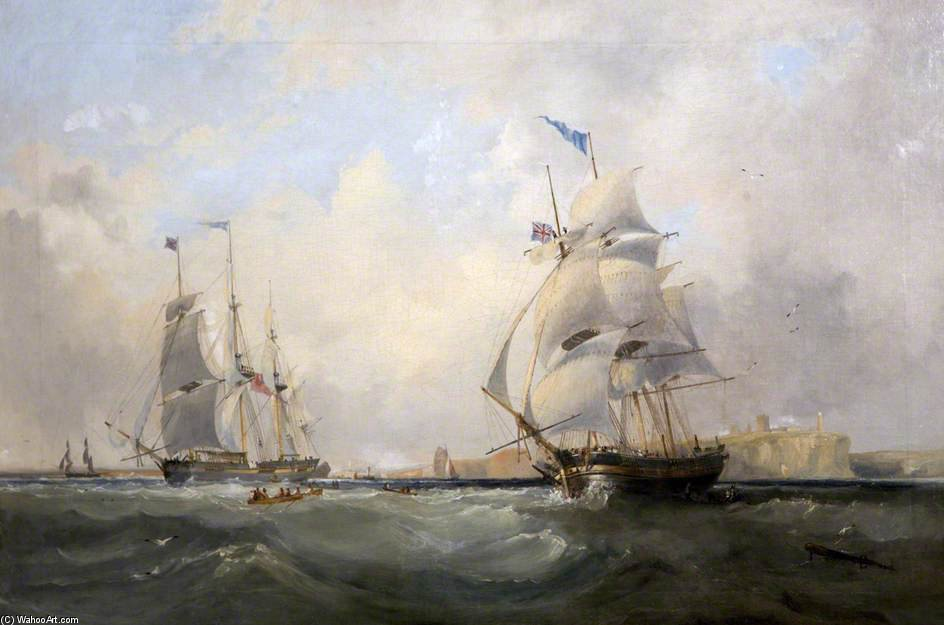 Whalers Entering The Tyne by John Wilson Carmichael (1800-1868, United Kingdom)