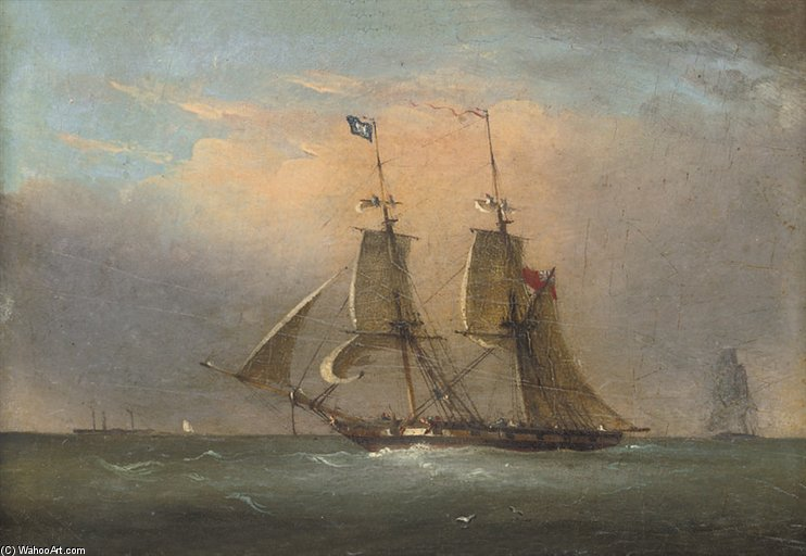 A Packet In The Channel (illustrated); And A Royal Naval Two-decker Running Inshore by Nicholas Matthew Condy (1816-1851) | Museum Quality Reproductions | ArtsDot.com