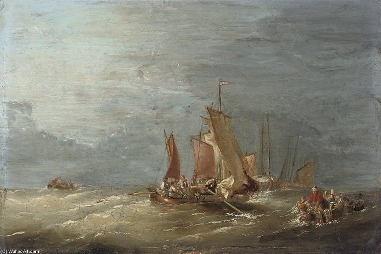 Fishermen Pulling In Their Lobster Pots by Nicholas Matthew Condy (1816-1851) | Oil Painting | ArtsDot.com