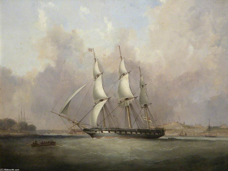 Hms `thetis` At Mount Wise, Built At Devonport by Nicholas Matthew Condy (1816-1851) | Museum Quality Reproductions | ArtsDot.com