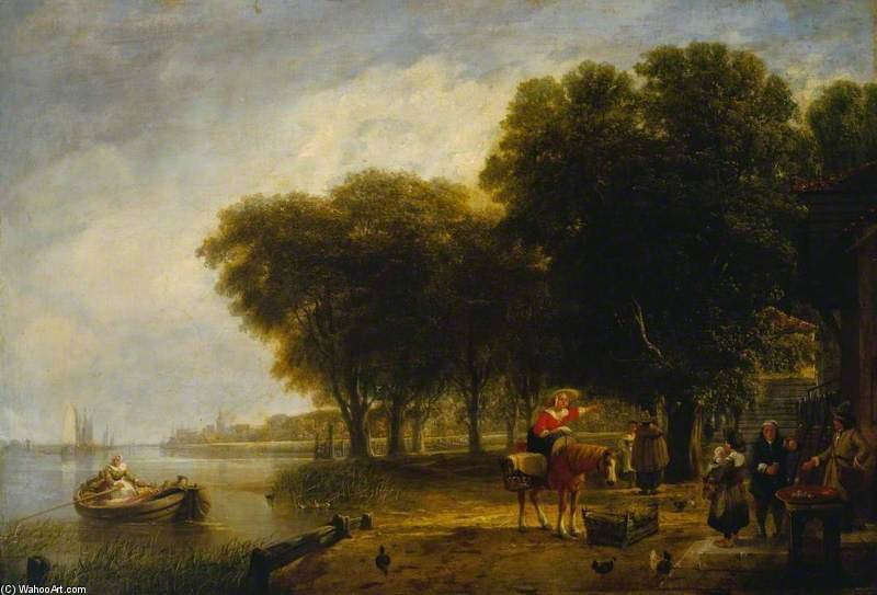 Dutch Peasants Waiting The Return Of The Passage Boat by Augustus Wall Callcott (1779-1844, United Kingdom)
