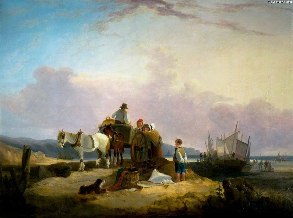 Sea Pier by Augustus Wall Callcott (1779-1844, United Kingdom) | Oil Painting | ArtsDot.com
