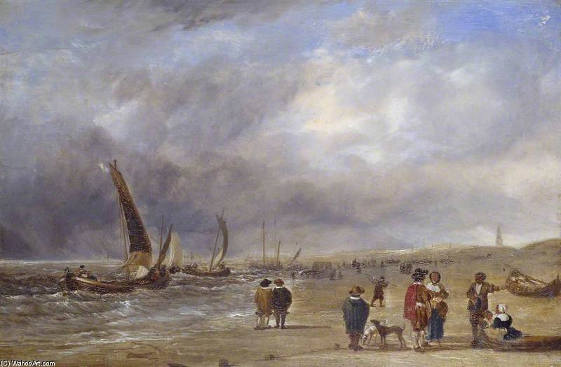 The Shore At Scheveningen by Augustus Wall Callcott (1779-1844, United Kingdom) | Museum Quality Reproductions | ArtsDot.com