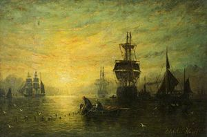 Adolphus Knell - Sunset With Boats