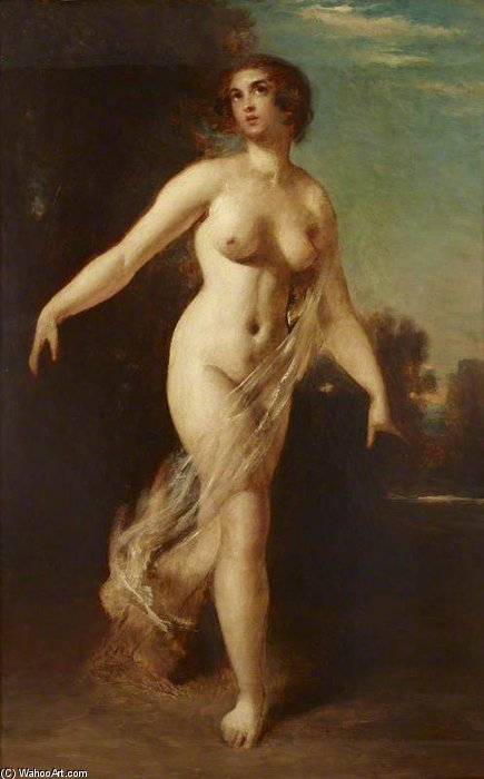 A Female Nude Striding In A Landscape by William Etty (1787-1849, United Kingdom) | Museum Art Reproductions | ArtsDot.com