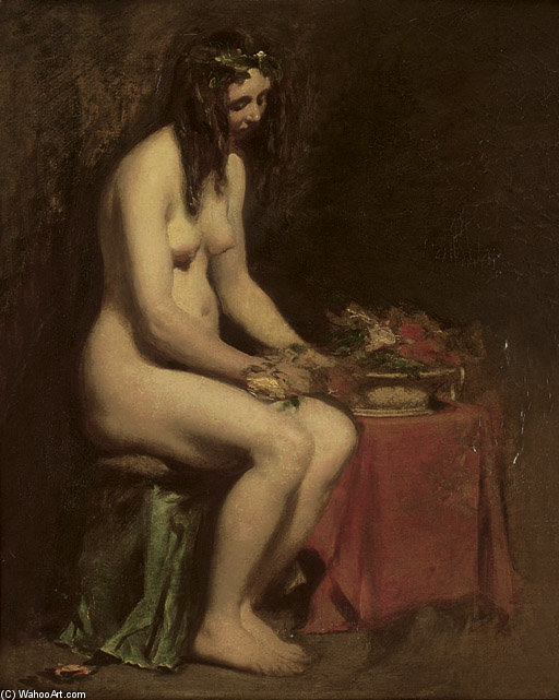 A Seated Female Nude by William Etty (1787-1849, United Kingdom) | Art Reproduction | ArtsDot.com