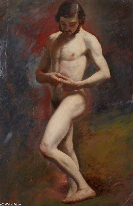 Academic Study Of A Male Nude Standing by William Etty (1787-1849, United Kingdom) | Art Reproduction | ArtsDot.com